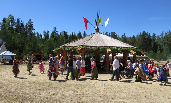 Group gathered for a pow wow